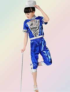 Jazz Outfits Children's Performance Sequined Sequins 2 Pieces Black / Blue Jazz Sleeveless Top / Shorts