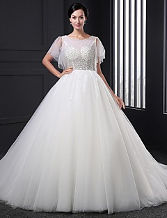 A-line Wedding Dress Sweep / Brush Train Jewel Tulle with Beading