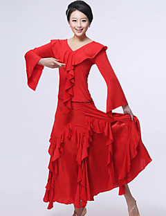 ריקודים סלוניים תלבושות בגדי ריקוד נשים ביצועים זהורית משי עטוף 2 חלקים חצאית עליון S:51   M:52  L:53   XL:54   XXL:55