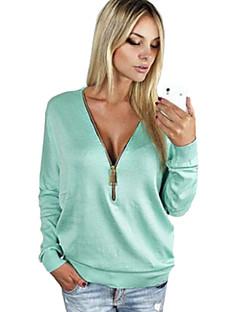 Enfärgad Långärmad T-shirt Kvinnors Djup V-hals Bommulsblandning