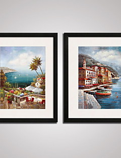 Framed The Mediterranean Landscape Painitng Canvas Print Art Set of 2 for Wall Decoration Ready To Hang