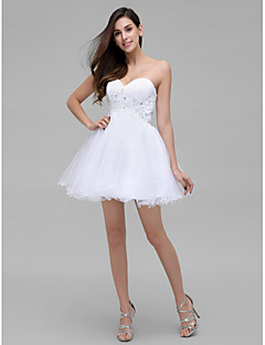 TS Couture Cocktail Party Dress - White A-line Sweetheart Short/Mini Chiffon
