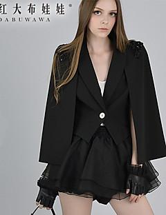Damen Einfarbig Mantel,Frühling Ärmellos Schwarz Mittel Polyester / Elasthan