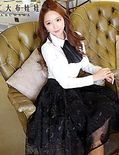 여성의 솔리드 셔츠 카라 긴 소매 셔츠 폴리에스테르 / 스판덱스
