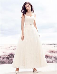 A-라인 웨딩 드레스 발목 길이 스윗하트 레이스 와 비즈 / 레이스