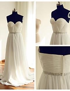 웨딩 드레스-A-라인 스윕/브러쉬 트레인 오프 더 숄더 쉬폰