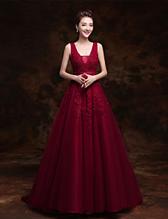 Formal Evening Dress - Elegant Ball Gown V-neck Sweep / Brush Train Tulle with Lace Pearl Detailing