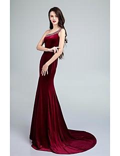 Formal Evening Dress - Burgundy Trumpet/Mermaid One Shoulder Sweep/Brush Train Velvet