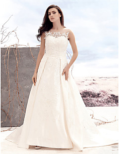 LAN TING BRIDE A-line Wedding Dress See-Through Court Train Scoop Satin Tulle with Appliques Button