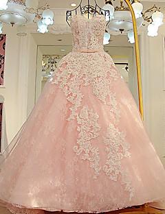 A 라인 웨딩 드레스 - 진주 핑크 법원 기차 아가 얇은 명주 그물