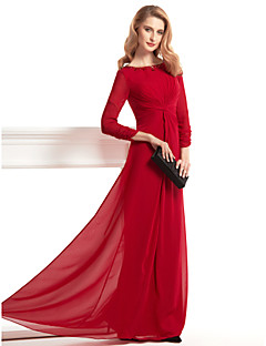 Lanting Sheath/Column Mother of the Bride Dress - Burgundy Floor-length 3/4 Length Sleeve Chiffon
