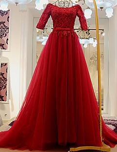 A-라인 웨딩 드레스 색상 웨딩 드레스 스윕 / 브러쉬 트레인 스쿱 튤 와 아플리케