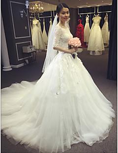 A-line Wedding Dress - Ivory Chapel Train Bateau Lace / Tulle