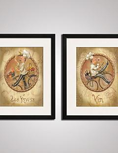 Abstrakt / Zeichentrickfilm / Menschen / Fantasie / Essen/Getränke Gerahmte Printkunst / Gerahmtes Leinenbild / Gerahmtes Set Wall Art,PVC