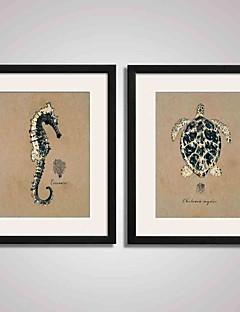 Absztrakt / Landscape / Csendélet Nyomtatott művészeti alkotások / Bekeretezett vászon / Bekeretezett szett Wall Art,PVC Fekete