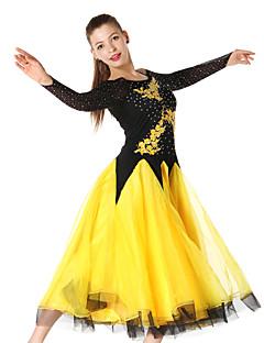 Ballroom Dance Dresses Women's Performance Chinlon Crepe Crystals/Rhinestones Embroidery 1 Piece Long Sleeve DressS-XXL:95 XXXL-4XL:125