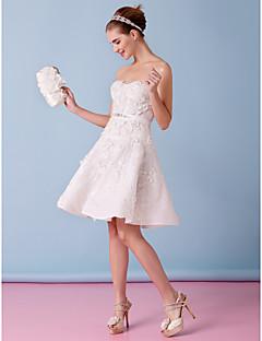 Lanting A-line Wedding Dress - Ivory Knee-length Strapless Tulle