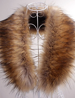 Fur Wraps Fur Accessories Faux Leather Collars Sleeveless Faux Fur Brown White Party/Evening Casual Shawl Collar Hidden Clasp