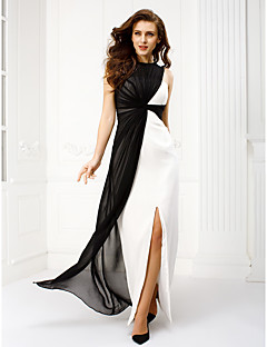 TS Couture Prom Formal Evening Dress - Color Block Sheath / Column Bateau Floor-length Chiffon with Criss Cross