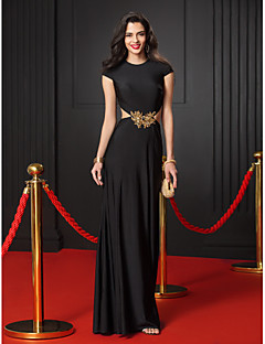 TS Couture Formal Evening Dress - Black Trumpet/Mermaid Jewel Floor-length Jersey
