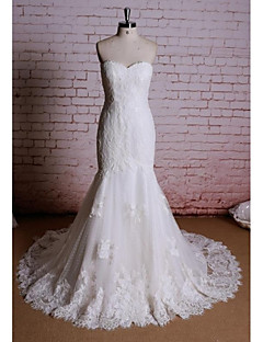 Sheath/Column Wedding Dress - White Chapel Train Sweetheart Satin / Tulle
