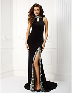 TS Couture Prom Formal Evening Black Tie Gala Dress - Furcal Sheath / Column High Neck Court Train Velvet withBeading Crystal Detailing