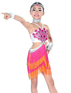 Latin Dance Outfits Children's Performance Spandex Tassel(s) 5 Pieces Green / Orange / Royal Blue / White Latin DanceHeadpieces / Dress /