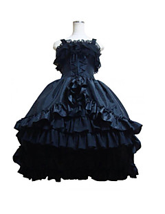 One-Piece/Dress Gothic Lolita Lolita Cosplay Lolita Dress Black Patchwork Sleeveless Medium Length Leotard For Women Satin