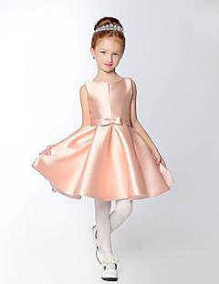 A-line Short / Mini Flower Girl Dress - Satin Sleeveless V-neck with