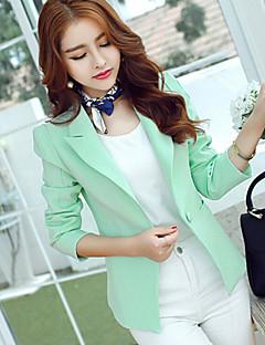 Damen Solide Einfach Blazer,Hemdkragen Frühling Langarm Blau / Grün Polyester Mittel