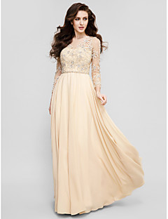 TS Couture® Prom / Formal Evening Dress Plus Size / Petite A-line Jewel Floor-length Chiffon with Appliques / Beading / Sash / Ribbon