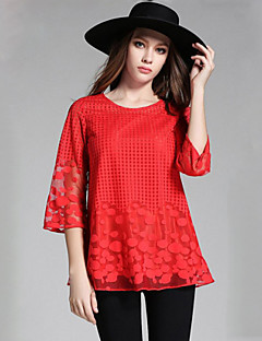 Women's Plus Size / Street chic Spring T-shirt,Jacquard Round Neck ¾ Sleeve Red / Black Polyester Medium