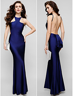 Formal Evening Dress - Plus Size / Petite Sheath/Column Jewel Floor-length Charmeuse