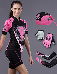 CHEJI® חולצת ג'רסי ומכנס קצר לרכיבה לנשים שרוול קצר אופניים נושם / ייבוש מהיר / עמיד אולטרה סגול / 3D לוח / מגביל חיידקיםמכנסיים קצרים /
