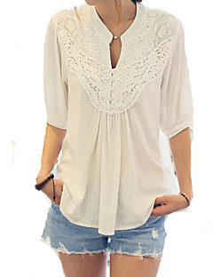 Women's Lace Casual/Daily Cute Spring Blouse,Patchwork V Neck ½ Length Sleeve Cotton Opaque