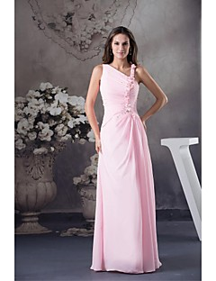 Lanting Bride Floor-length Chiffon Bridesmaid Dress Ball Gown Notched with Beading / Flower(s)