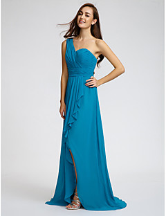 Sweep / Brush Train Chiffon Bridesmaid Dress Sheath / Column One Shoulder withRuffles / Sash / Ribbon / Side Draping / Split Front /