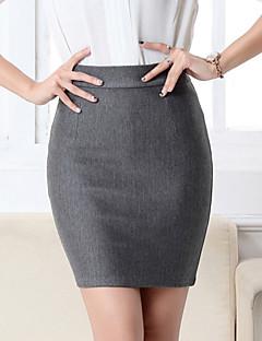 Ovenfor knéet Skjørt Sexy / Klubb Polyester Elastisk Kvinner
