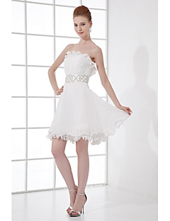 Lanting Bride® Short / Mini Chiffon Bridesmaid Dress - A-line Strapless with Beading