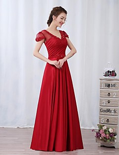 Dress - Burgundy A-line V-neck Floor-length Charmeuse