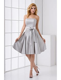 Lanting Bride® Knee-length Stretch Satin Bridesmaid Dress A-line Strapless with Sash / Ribbon