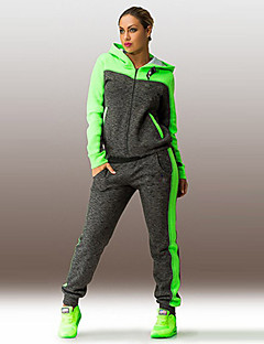 Women's Patchwork Pink / Green Hoodies , Plus Size / Active Hooded Long Sleeve