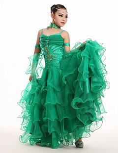 בגדי ריקוד ילדים - שמלות - מודרני ( ירוק / ורוד / אדום / לבן , ספנדקס / טול , אפליקציות / קריסטלים / rhinestones )
