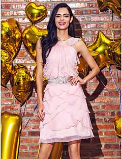 칵테일 파티/홈 커밍/웨딩파티 드레스 - 펄 핑크 시스/컬럼 무릎길이 보석 쉬폰 플러스 사이즈