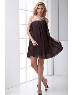 Lanting Short/Mini Chiffon Bridesmaid Dress - Chocolate A-line One Shoulder