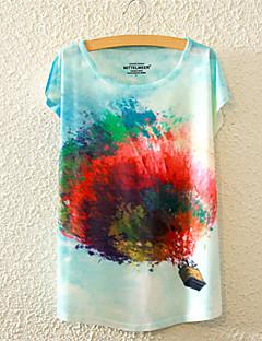 Kortærmet Kvinders Blomstret Rund hals T-shirt Bomuld