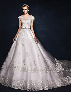 Ball Gown Wedding Dress - Ivory Court Train V-neck Satin / Tulle