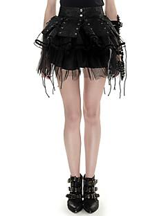 Kvinders Sexet / Punk & Gotisk Mini Nederdele Mikroelastisk PU / Hør / Polyester