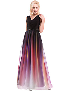 Prom / Formal Evening Dress Ball Gown V-neck Floor-length Chiffon / Charmeuse with Beading / Draping / Lace / Sash / Ribbon / Side Draping
