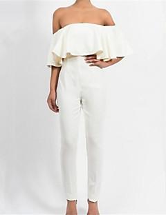 Femme simple Taille Haute Décontracté / Quotidien Combinaison-pantalon,Ample Volants Couleur Pleine Eté